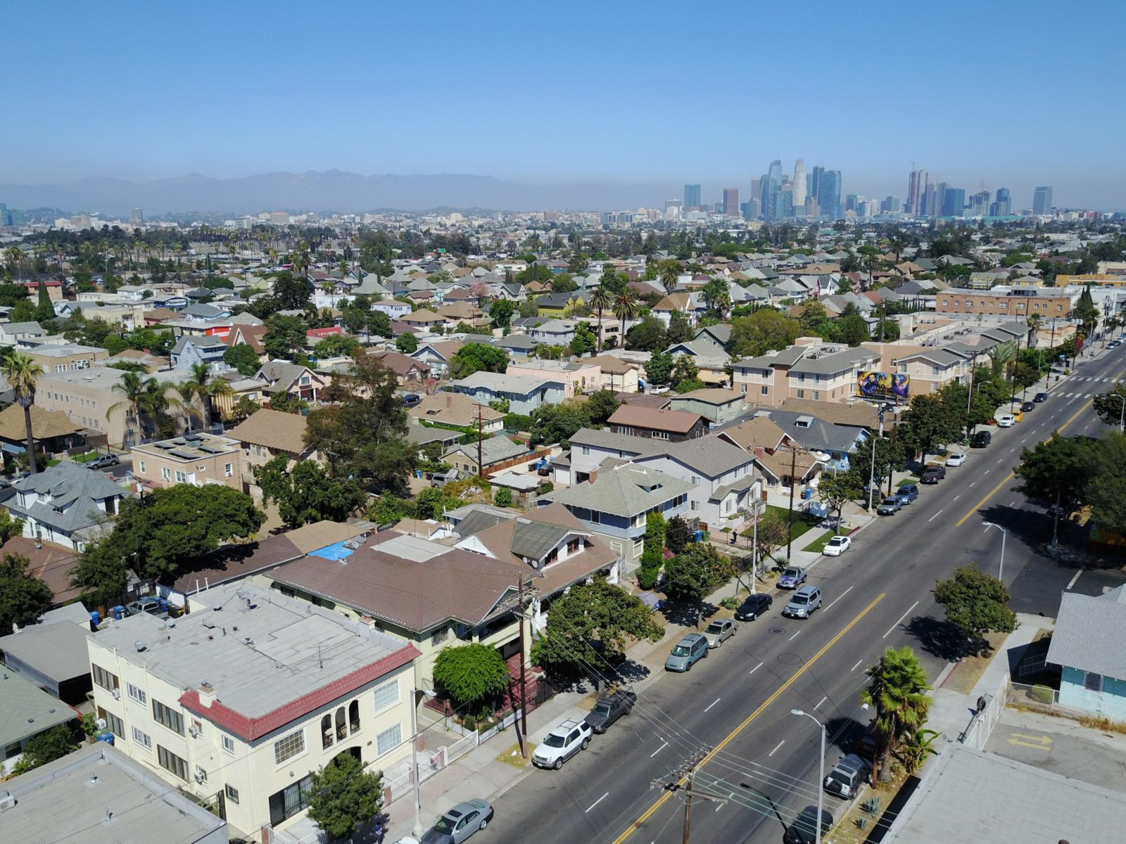Aerial view of 4 unit apartment building for sale at 1853 W Adams Blvd, Los Angeles, CA 90018