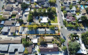 Overhead view of 6 unit apartment complex for sale, located at 1806 N Sierra Bonita Ave