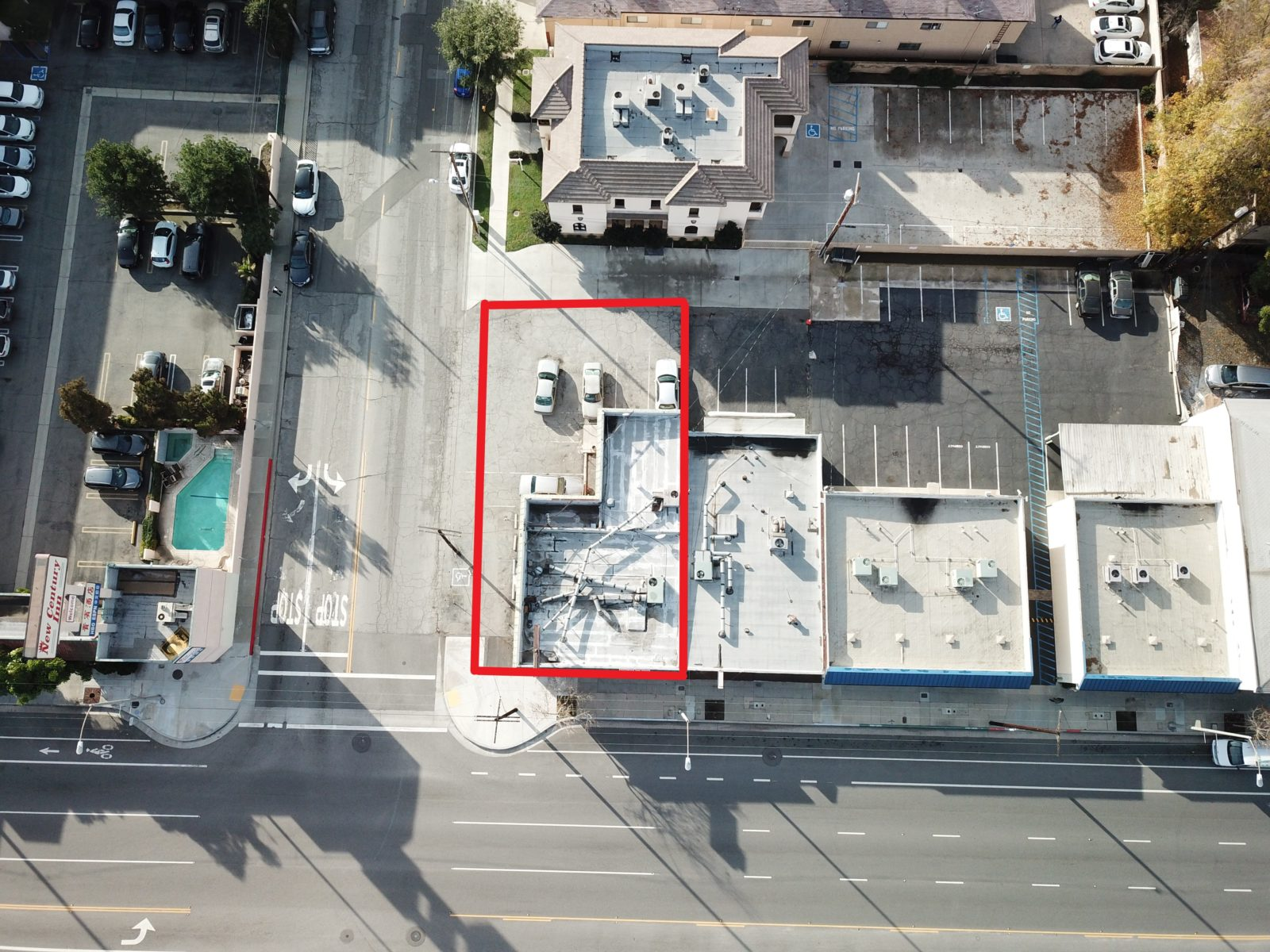 Aerial view of commercial real estate for sale, located at 1062 E Las Tunas Drive
